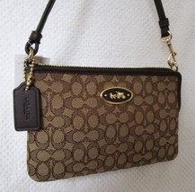 NWT Coach Khaki and Brown Signature C Wristlet - $45.61