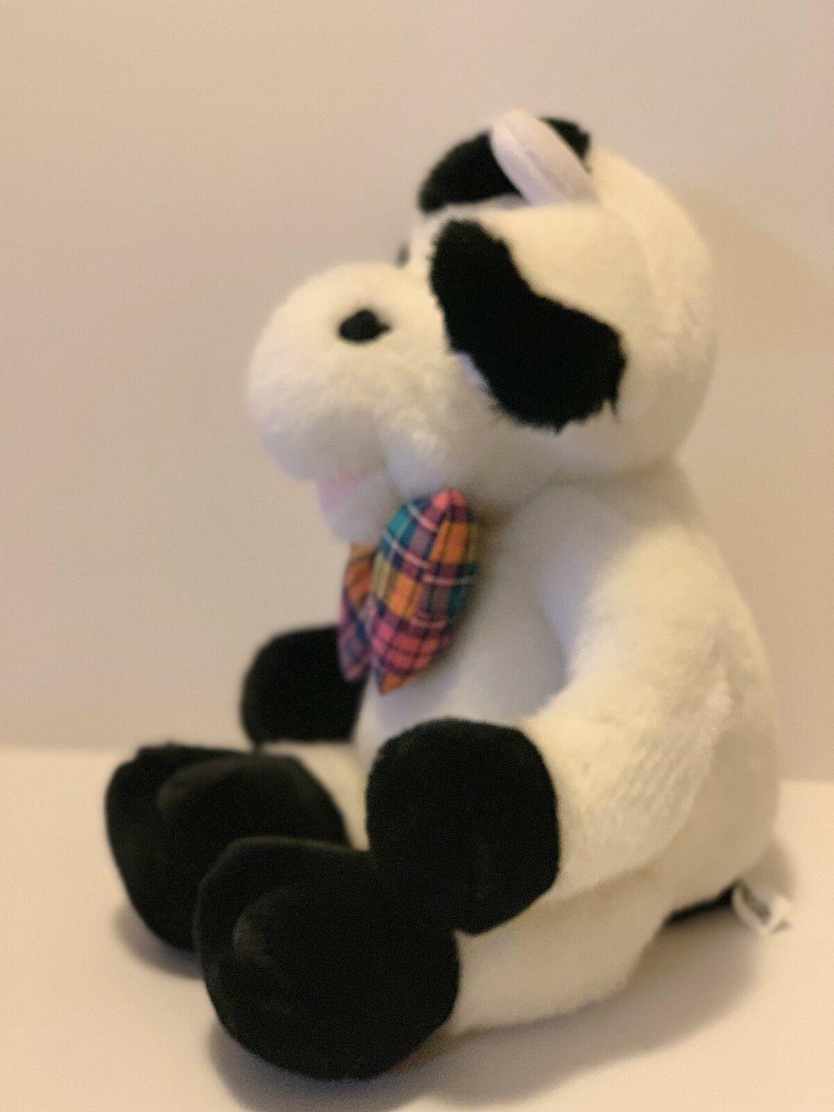 "Commonwealth Plush Cow Black White Stuffed Animal Plaid Bow Tie Soft 14"" Toy image 5"