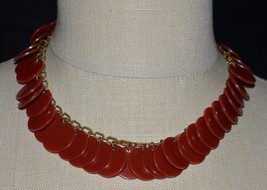 VTG Gold Tone Red Disk Disc BAKELITE Tested Choker Necklace - $133.65