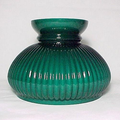 Glass Oil Lamp Shades : Lamp shade ribbed green cased glass quot student kerosene