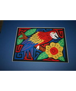 Kuna Indian Mola Stretched Matted Scarlet Macaw Parrot Hand stitched App... - $37.99