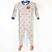 Carters Football Footed Pajamas 4T Boys Draft Pick Fleece Footie Gray Zip Winter - $17.68
