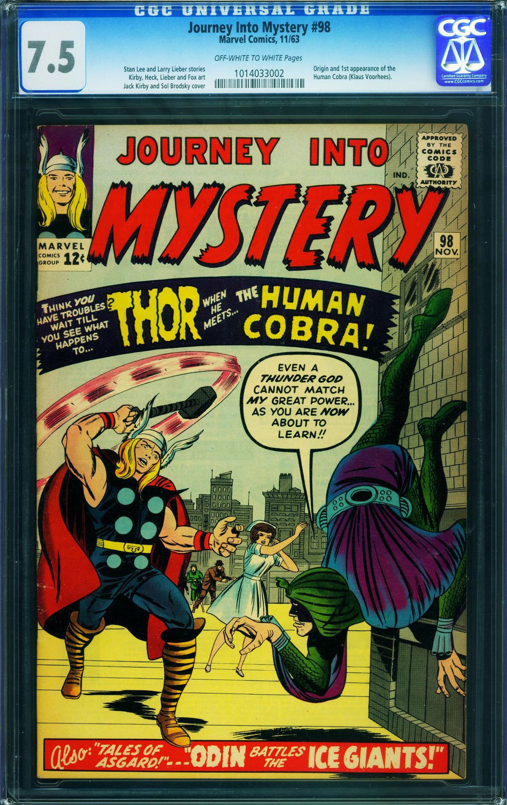 Primary image for JOURNEY INTO MYSTERY #198 CGC 7.5-1963-THOR-FIRST Human Cobra-MARVEL 1014033002