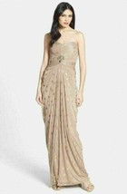 Adriana Papell Foiled Dot Draped Mesh Dress Sz 4 - $109.25