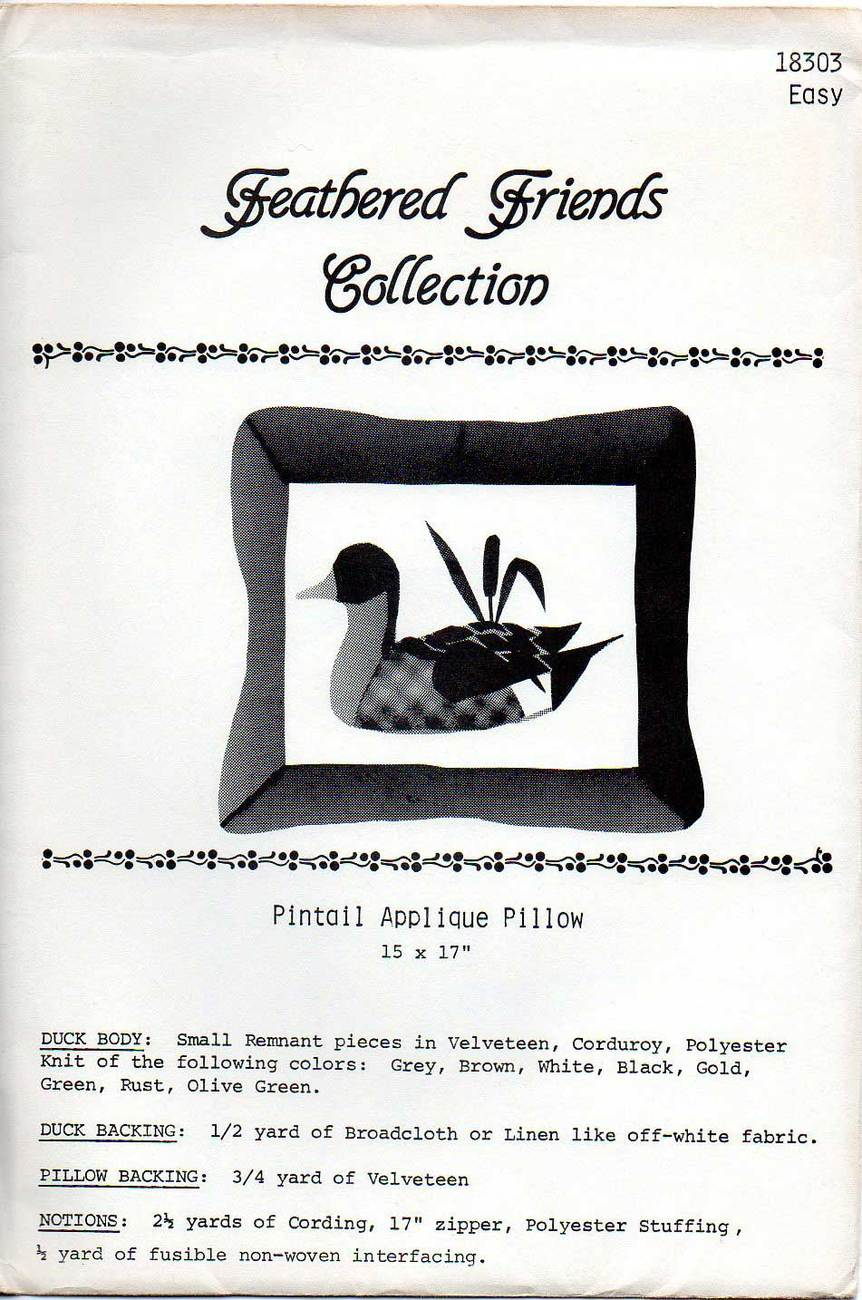 Feathered Friends No. 18303 Pintail Duck Applique Pattern Other