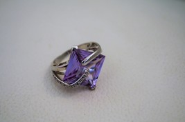 Sterling Silver Ring Size 6 3/4 Purple Amethyst or Glass Square Solitair... - $36.76