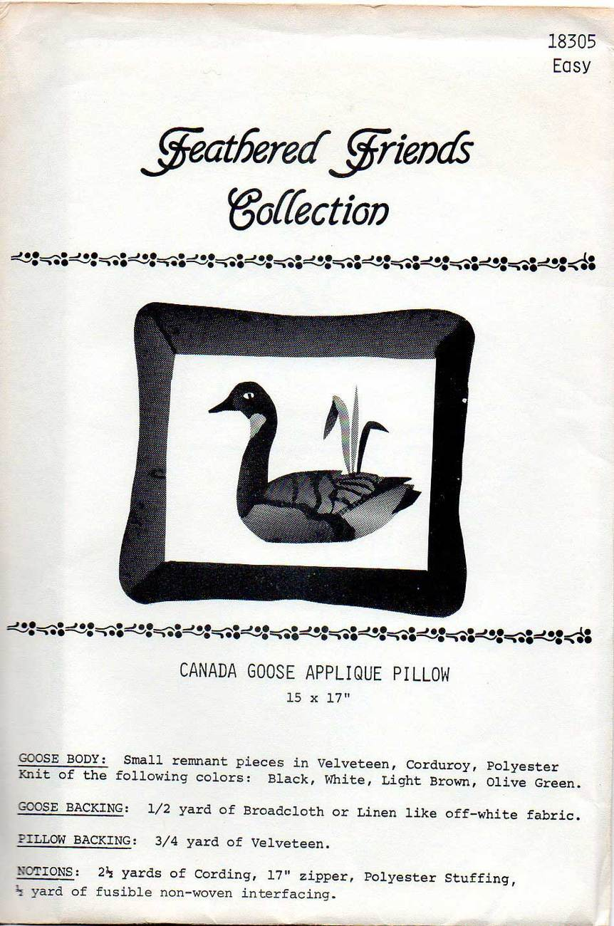 Feathered Friends No. 18305 Canadian Goose Applique Pattern Other