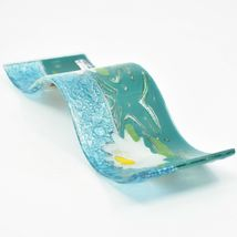 Fused Art Glass White Lotus Flower Wavy Decor Sun Catcher Handmade in Ecuador image 7