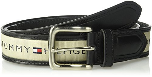 Tommy Hilfiger Men's Ribbon Inlay Belt, black/natural, 42