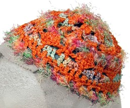 Fuzzy Orange Crochet Beanie Hat - $11.80