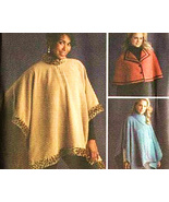 Simplicity 4358 New Pattern Fleece Poncho and Cape Misses  - $8.95