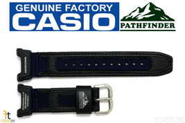 Casio Pathfinder Pag-240b-2 Original 23mm Noir avec / Cuir Bleu / Nylon - $46.38