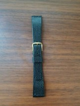 vintage Hong Kong 18MM watch strap, black strap, gold buckle. Made in Hong Kong - $14.85