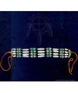 Bone Hairpipe w/ Blue & Black Beads Choker - $19.60