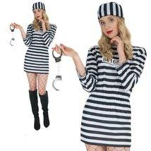 Women's Convict Prisoner Costume Womens Jailbird Halloween Robber Fancy Dress Ou image 2