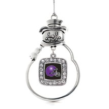 Inspired Silver Black and Purple Team Helmet Classic Snowman Holiday Decoration  - $14.69
