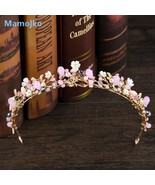 Baroque Pink  Style Flower Tiara Bridal Beads Crown for Women Fashion Cr... - $18.09