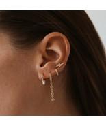 wedding engagement gift cz tassel chain charm earring 925 sterling silve... - $21.37