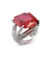 Sterling Silver Ruby with Clear Swarovski Crystal COCKTAIL RING - $99.95