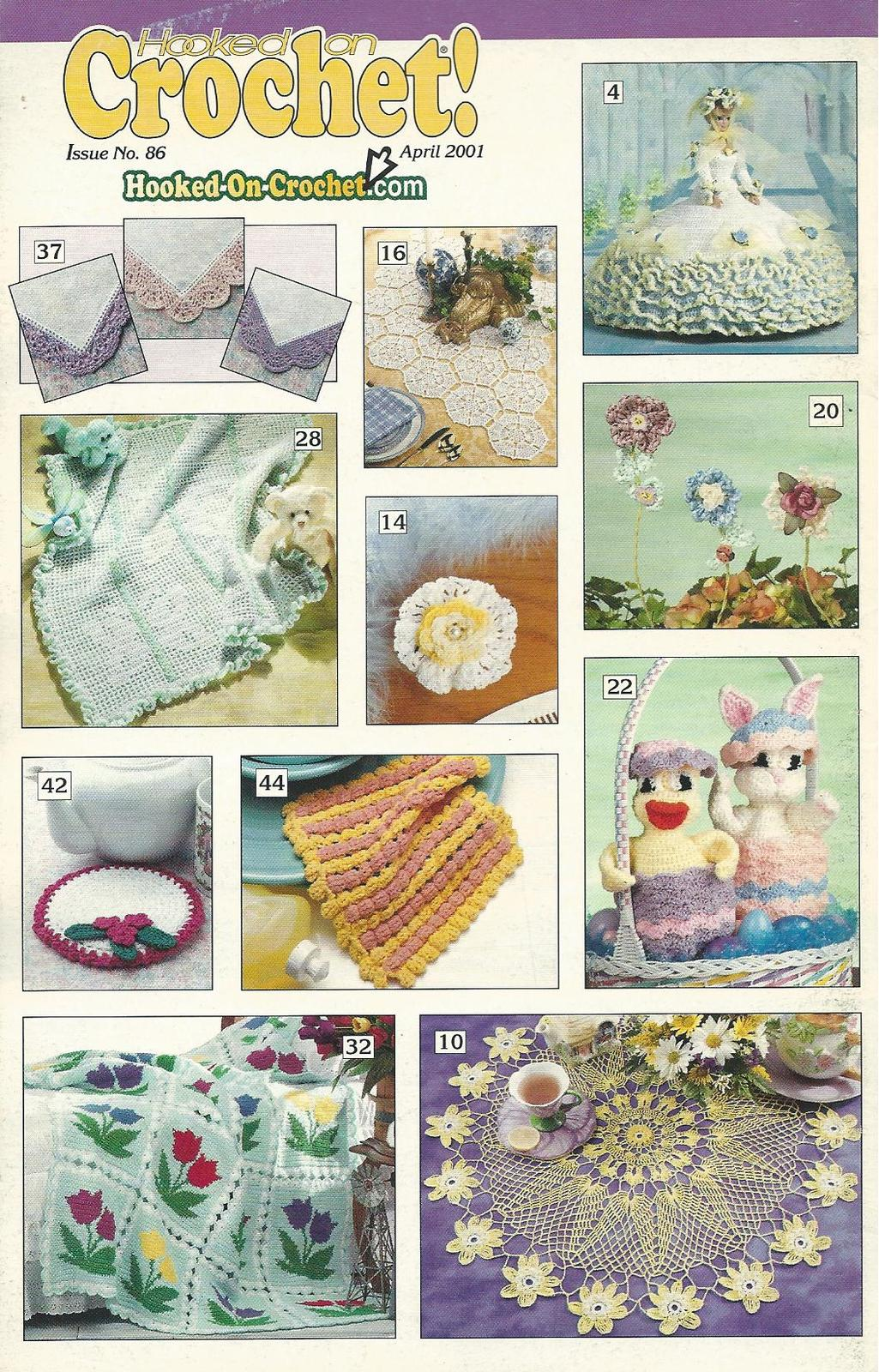 Hooked on Crochet Magazine April 2001 #86~Butterfly & Tulip Afghans+ - $1.99