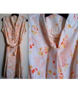 MODCLOTH VINTAGE Mod Cloth Three R's orange floral dress draping tie, sa... - $99.99