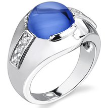 Men's Sterling Silver 7 Carat Created Blue Sapphire Ring - $103.99