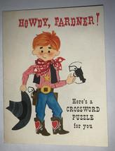 Vintage Hallmark Crossword Birthday Card -Howdy, Pardner - Boy Sheriff - $6.92