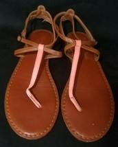 American Eagle Womens Size 8 Flat Brown W/ Orange & Brown Straps Sandals  - $12.19