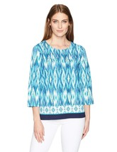 Alfred Dunner Women's Ikat Border Print Knit Top 3/4 Slv, Multi, Medium,... - $45.82