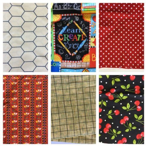 Quilt Fabric Lot 2 lbs Chicken Wire Yellow Plaid Cherries Red Polka Dots Prints - $24.14