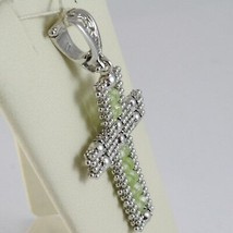Charm Pendant Silver 925, cross Finely Worked Soft, Spheres, Peridot image 2