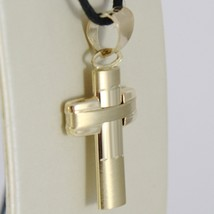 Yellow Gold Cross Pendant 750 18k, curved, shiny and Satin, worked, Italy image 2