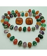 Avon Fashion Jewelry Multi-color Beaded Necklace &Unbranded Pierced Earr... - $18.99