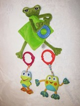 Bright Starts Mud Pie Frog Baby Toy Satin Security Blanket Teether Ring Clip Lot - $24.74