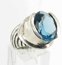 VINTAGE STERLING SILVER Solitare 8 CT BLUE  Crystal TOPAZ MEXICO RING Sz 7 - $53.99