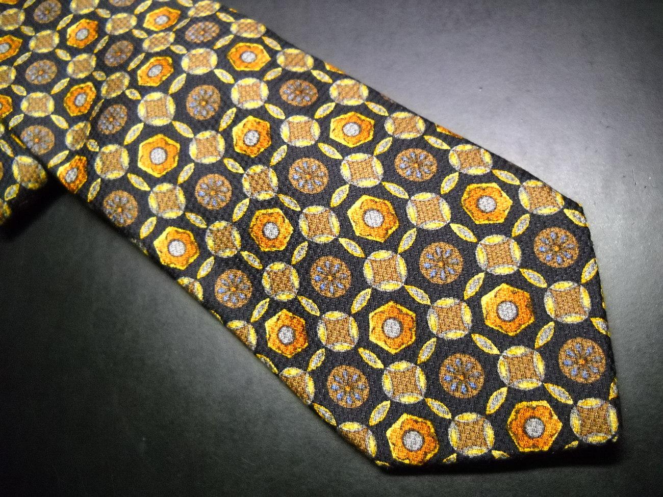 Ermenegildo Zegna Disegno Neck Tie Black Browns Made in Italy