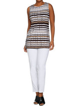 WOMEN WITH CONTROL Size 2X Ankle Pants & Printed Tunic Set WHITE - $57.37
