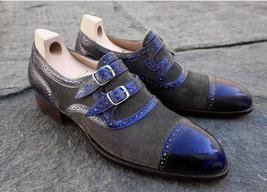 Gray Blue Genuine Leather Cap Toe Double Buckle Straps Monk Men Party Wear Shoes - $139.90+