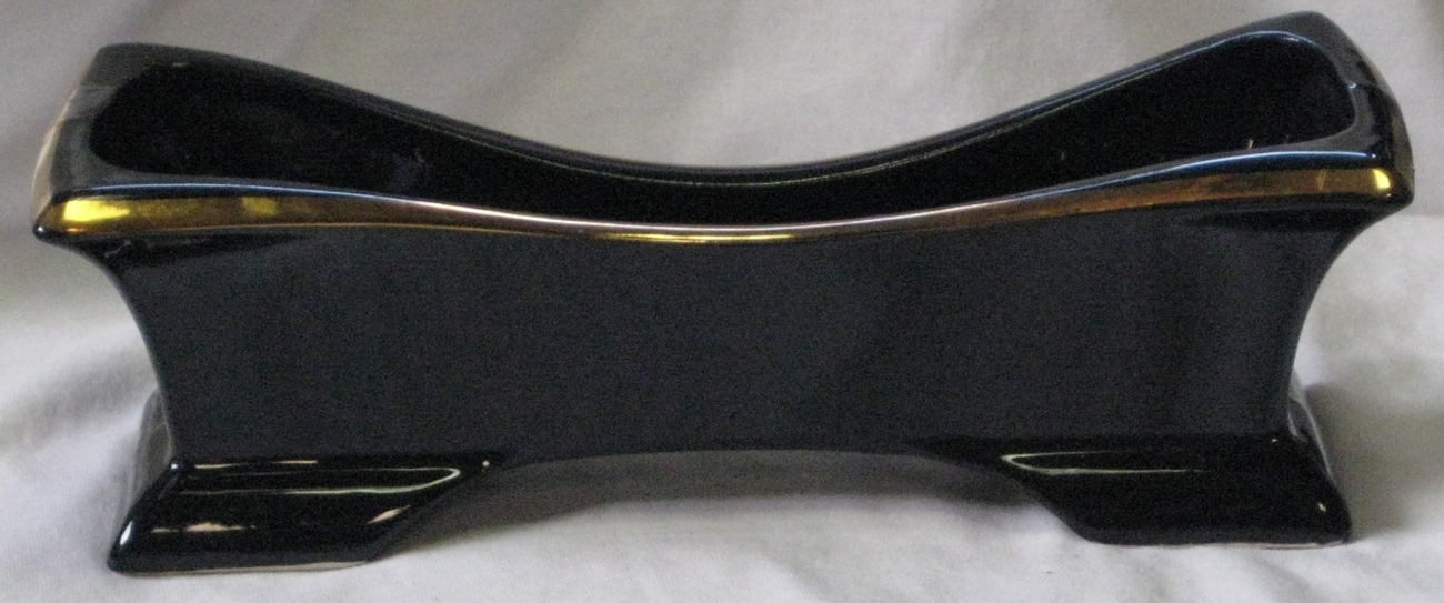 Vintage Planter Window Box Glossy Black with Gold Trim/Gilt