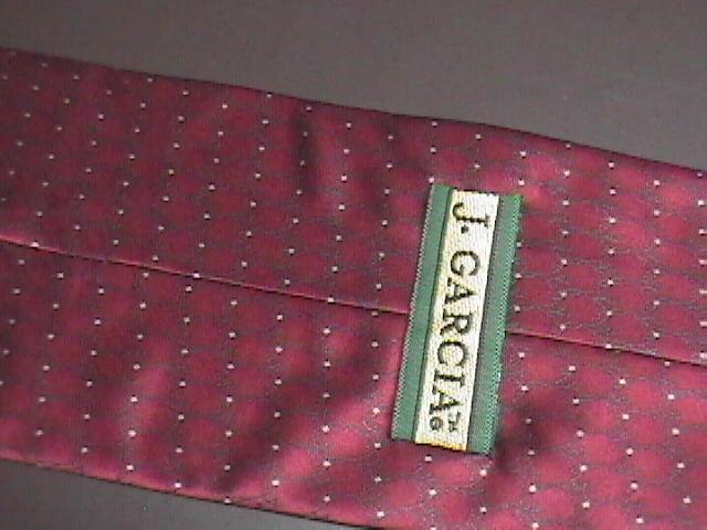 J Garcia Neck Tie Collection 18 Still Life Bright Red Gold Points Green Filigree
