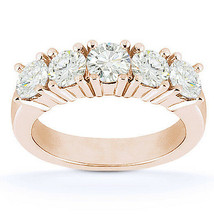 Round Cut Moissanite 5-Stone Anniversary Ring 14k Rose Gold 4-Prong Wedd... - €535,44 EUR+