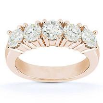 Round Cut Moissanite 5-Stone Anniversary Ring 14k Rose Gold 4-Prong Wedd... - €536,98 EUR+