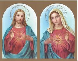 Catholic Print Picture SACRED HEART of JESUS + IMMACULATE HEART of MARY ... - $14.01
