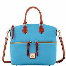 Dooney & Bourke Pebble Double Pocket Satchel Sky Blue Purse handbag