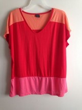 Faded Glory Red Pink Orange V Neck Shirt Size Large  NWOT - $10.88