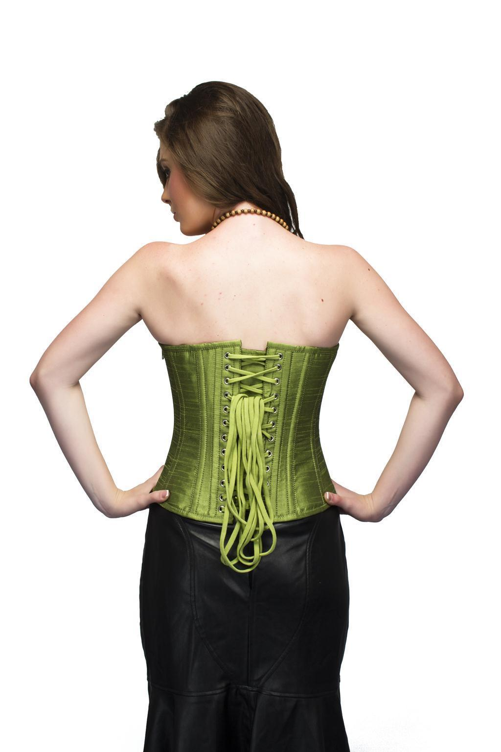 Pea Green Silk Overbust Top& Long Faux Leather Skirt PLUS SIZE Corset Prom Dress image 2