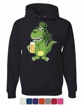 St. Patrick's Day T-Rex Hoodie Irish Shamrock Pub Beer Drinking Sweatshirt - $24.99+