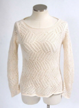 Anthropologie Angel Of The North Ivory Cream Crochet Loose Knit Sweater S - $31.68