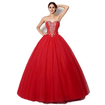 Women's Quinceanera Dress Beaded Bodice Red Ball Gown 2018 Prom Party Gowns - $128.99