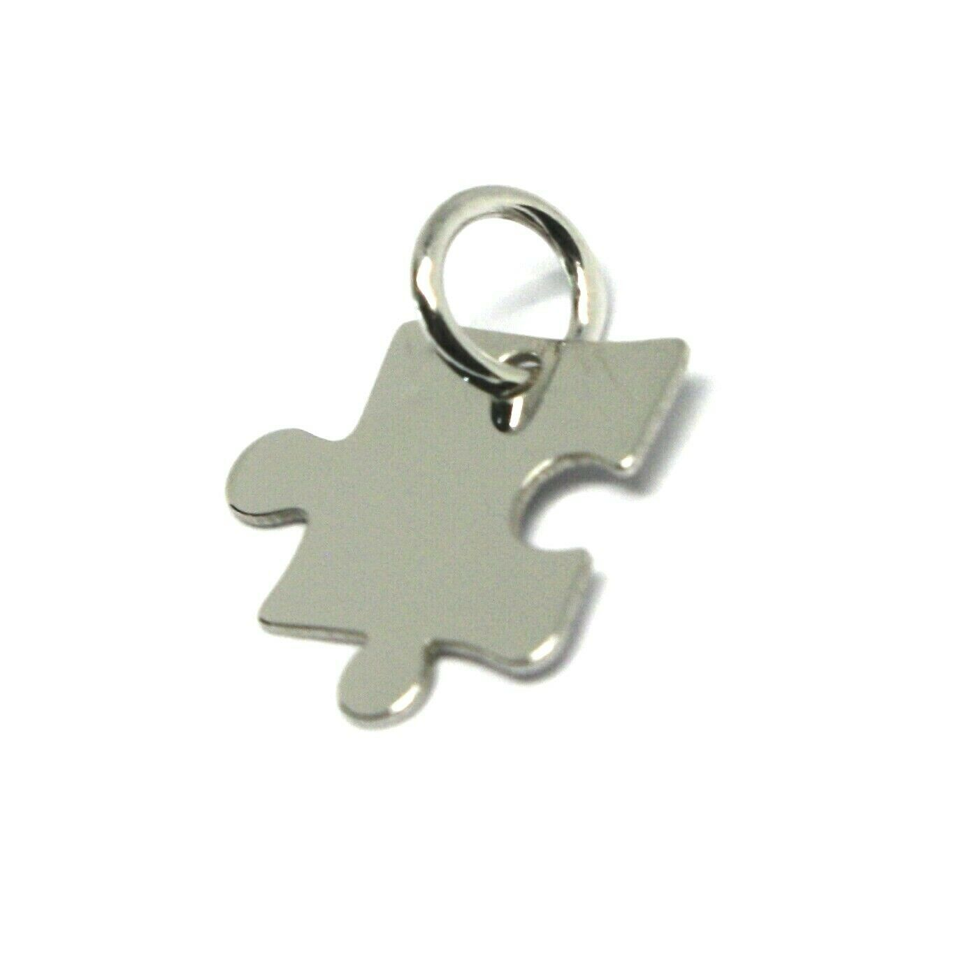 18K WHITE GOLD CHARM PENDANT, MINI PUZZLE PIECE, FLAT, MADE IN ITALY image 2